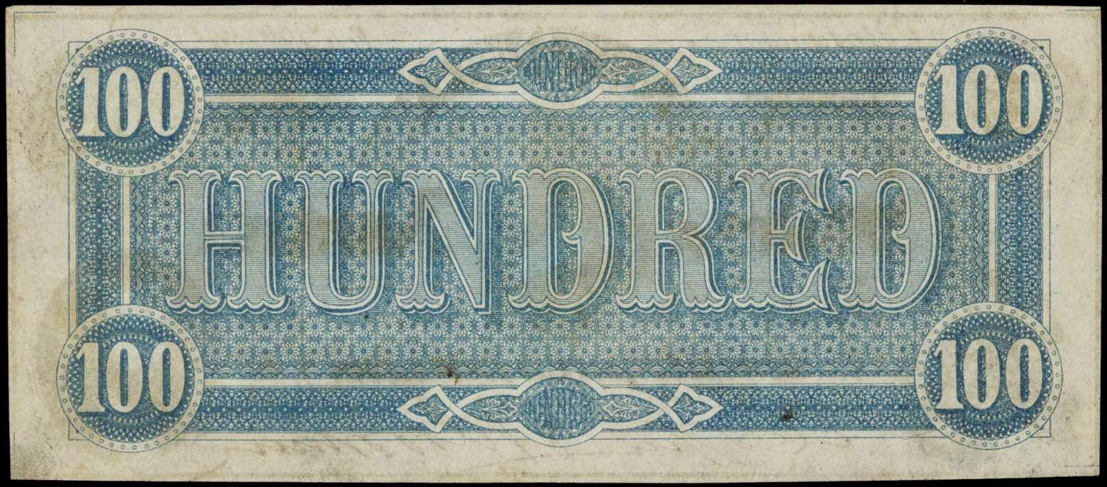 Confederate Money Currency One Hundred Dollars