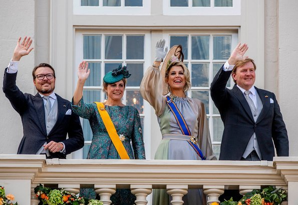 Queen Maxima wore Luisa Beccaria Iridescent Multicolor Georgette Long Dress