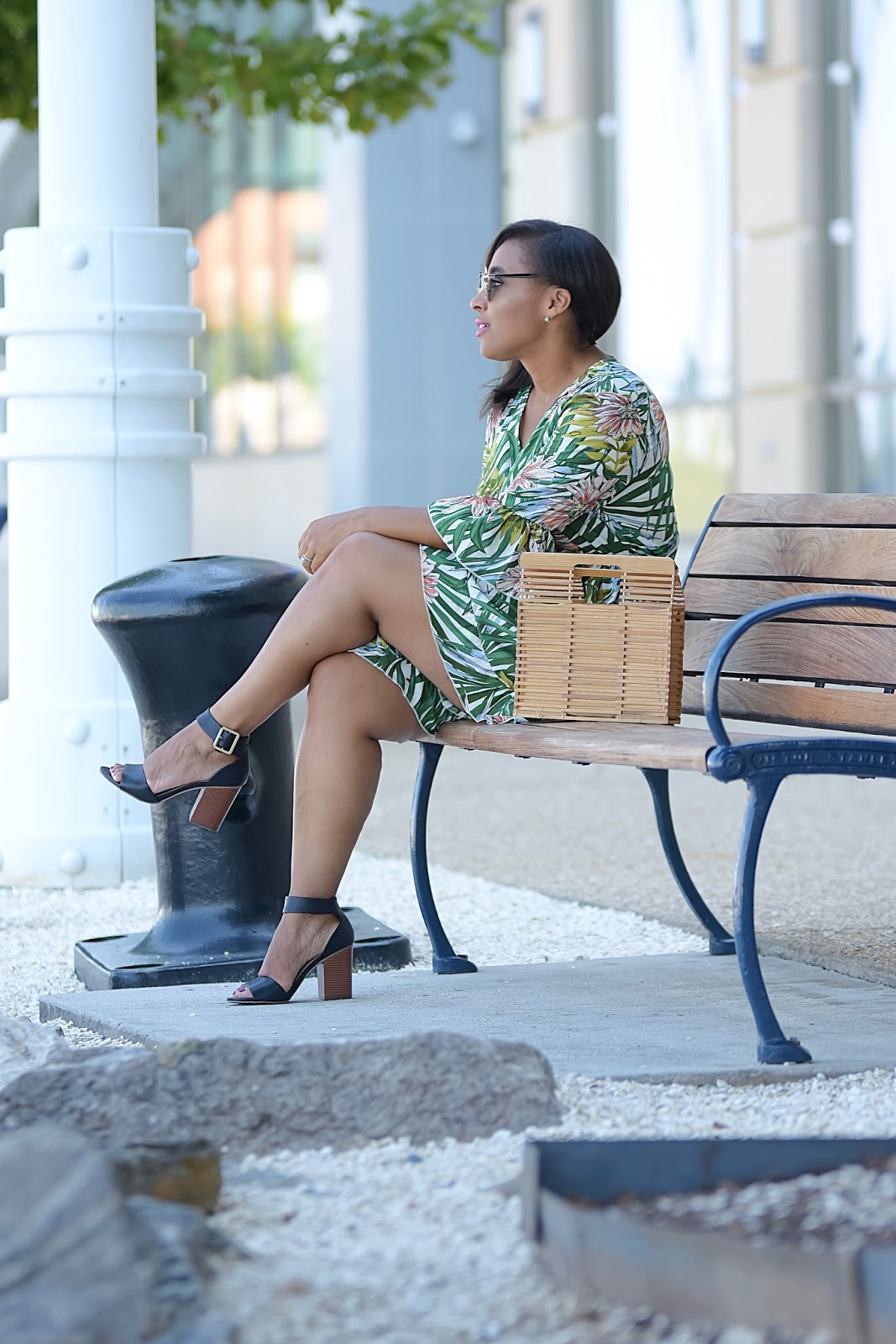 Floral Romper, shein, bamboo purse, summer outfits, floral print, national harbor, jumpsuit