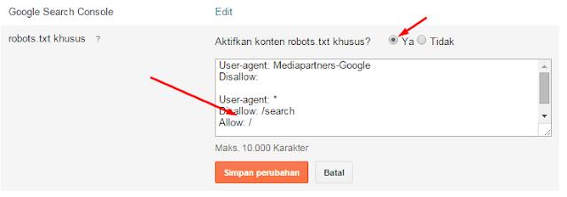Cara menggatur Robot.txt untuk blogspot