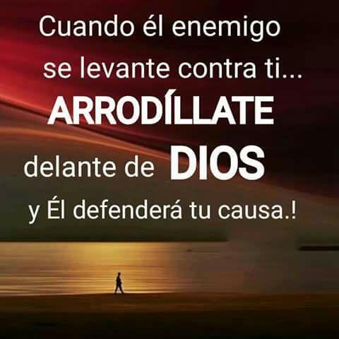 Cuando el enemigo se levante contra ti... Arrodíllate delante de DIOS y Él defenderá tu causa.