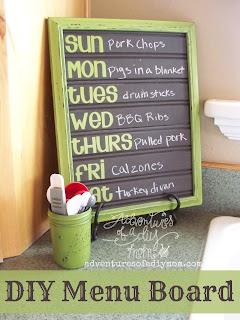 DIY Chalkboard Beadboard Menuboard from Adventures of a DIY Mom - 8 DIY Menu Planner Ideas