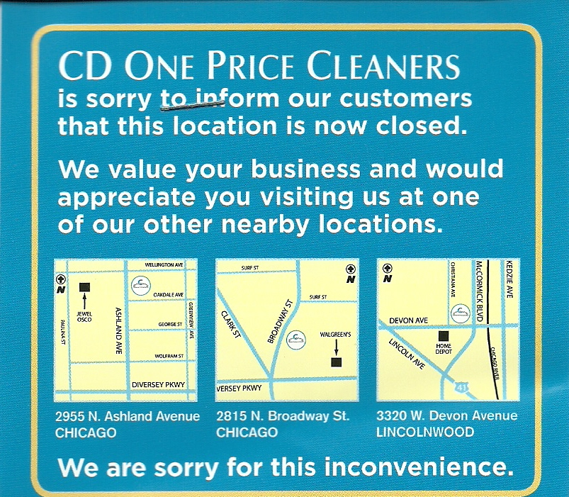 uptown update cd one price cleaners closes. Black Bedroom Furniture Sets. Home Design Ideas