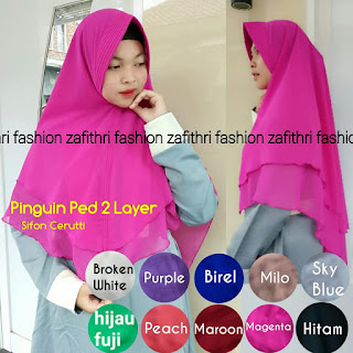 khimar 2 layer pinguin oval bahan sifon