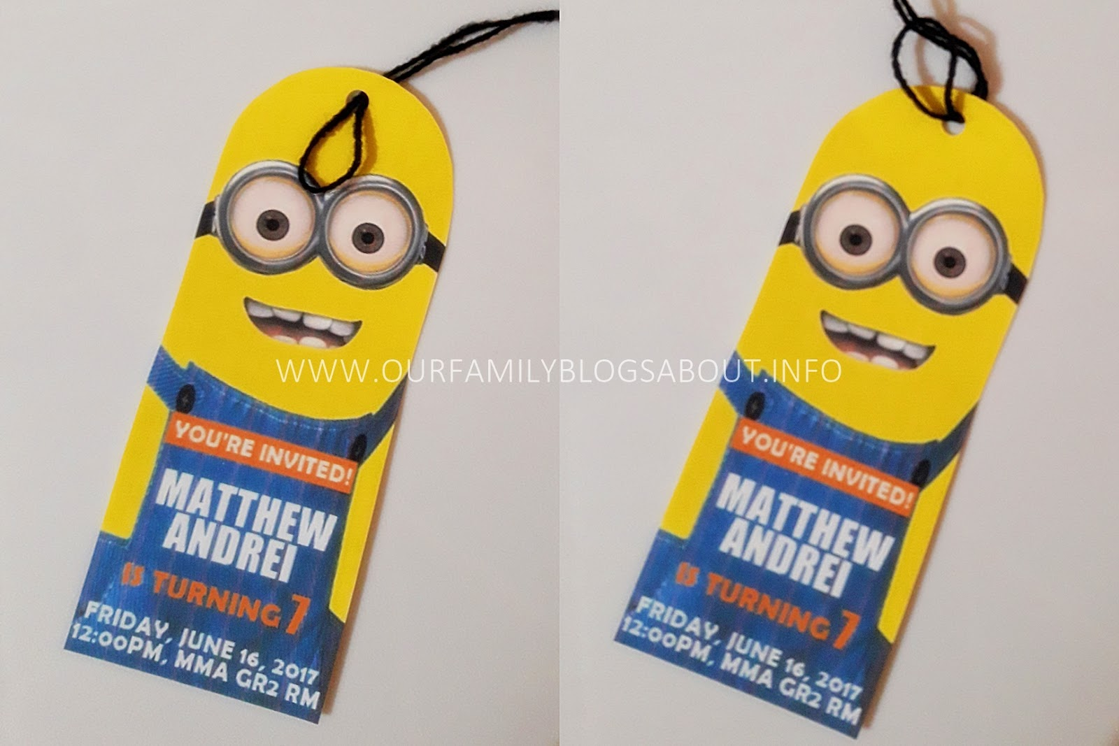 diy despicable me minions bookmark birthday invitation