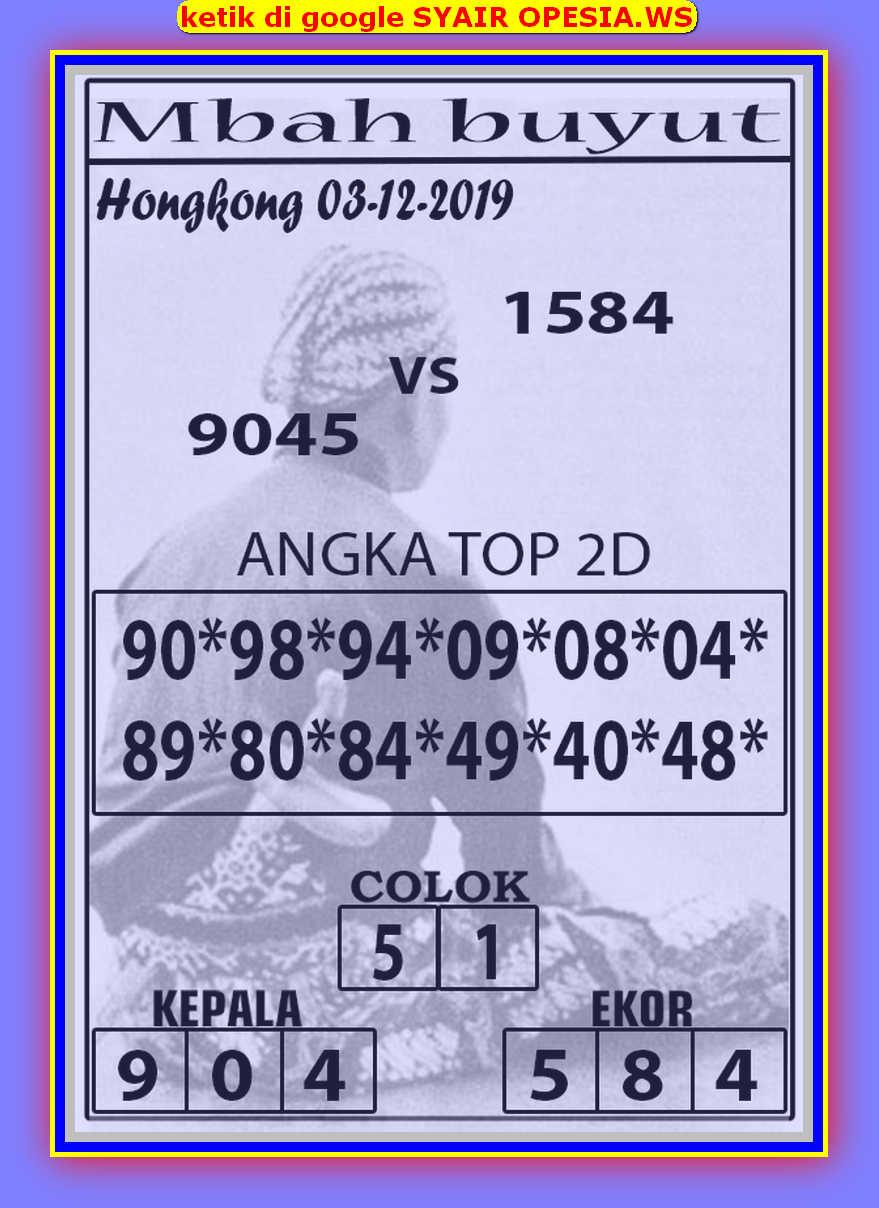 Kode syair Hongkong Selasa 3 Desember 2019 54
