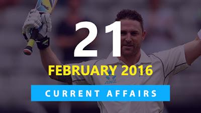 Current Affairs Quiz 21 February 2016