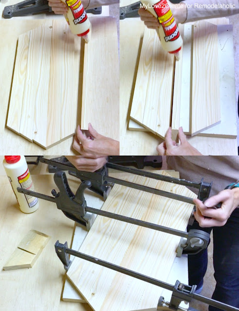 gluing bottom pieces of tray together
