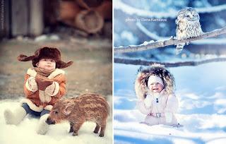 صور اطفال مع حيونات وطيور كيوت