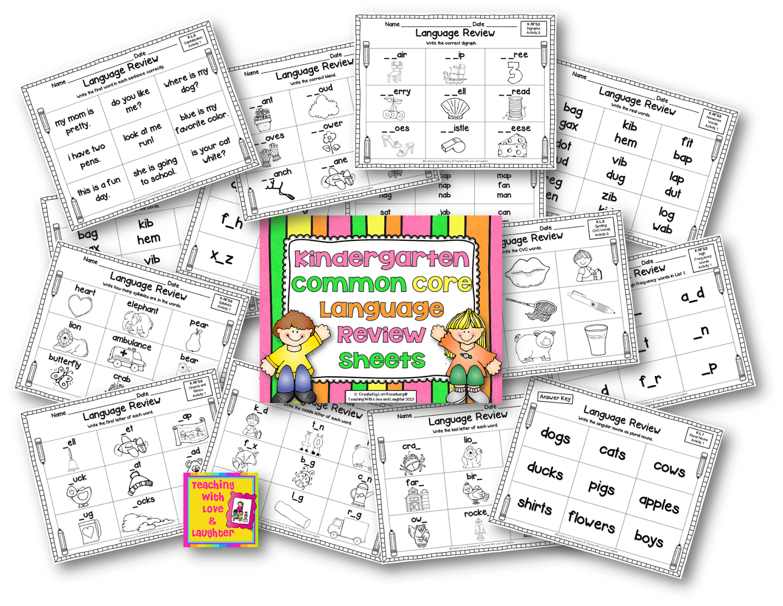 Teaching With Love And Laughter Kindergarten Common Core Language Review Sheets