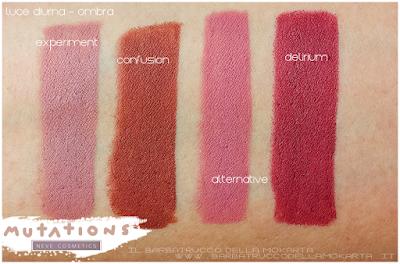 swatches lipstick LipPencil - biopastello Labbra -  Collezione Mutations - Neve cosmetics
