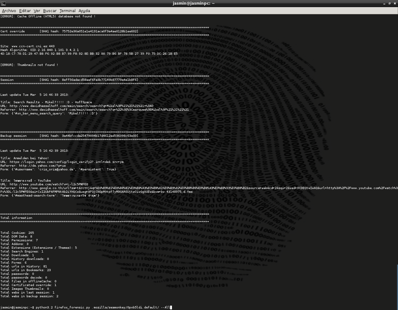 Dumpzilla - Extract All Forensic Interesting Information Of