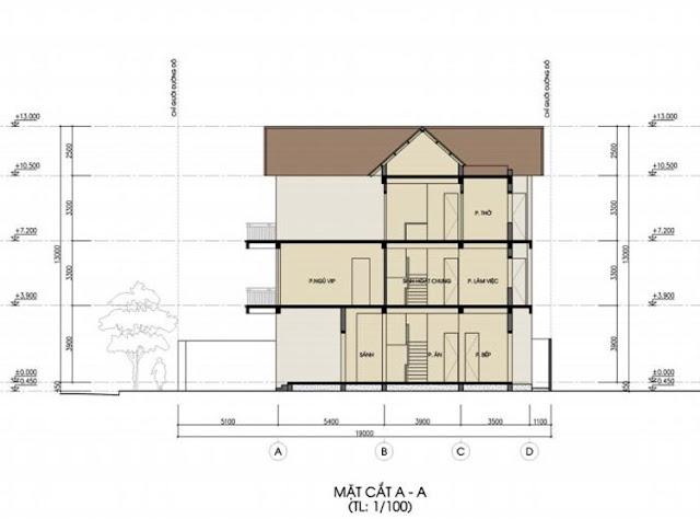 Mặt cắt thiết kế biệt thự đơn lập Foresa Villa