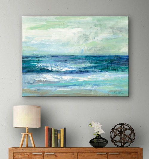 Blue Ocean Art Print on Canvas - Beach Home Decor Design