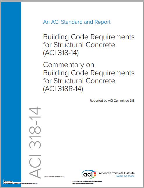 تحميل كتاب الكود الامريكي للخرسانة بالنسختين العربية والانجليزية  Building Code Requirements for Structural Concrete ACI 318-14 بي دي اف للنسختينPDF