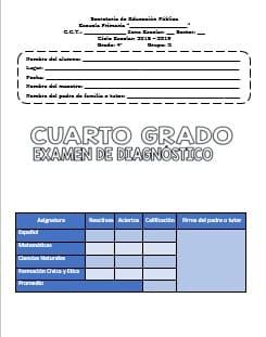 Exámenes Cuarto grado Diagnostico Ciclo Escolar 2018-2019