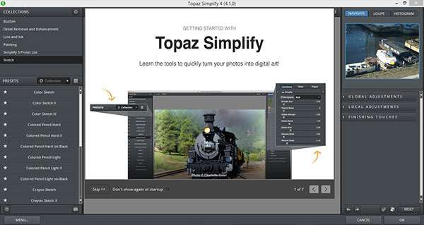 Topaz Simplify Getting Started screen