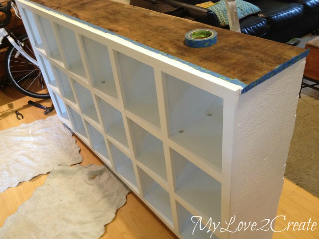 MyLove2Create, Cubby Shelf Revamp, filling nail holes and painting