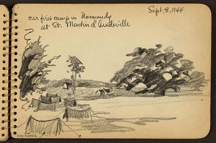 21-Year-Old WWII Soldier's Sketchbooks Show War Through The Eyes Of An Architect - Our First Camp In Normandy At St. Martin D'Audeville