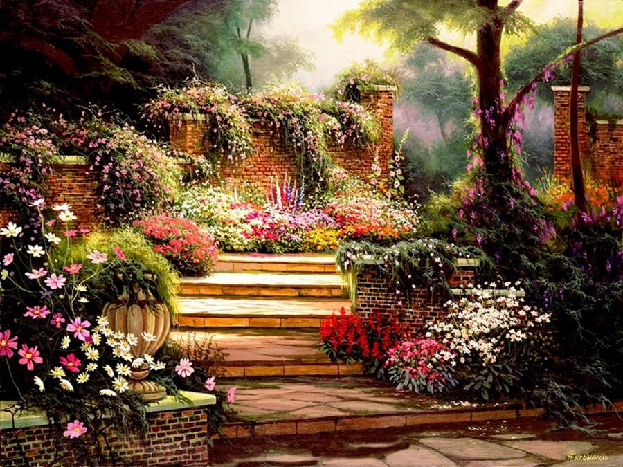 Im genes arte pinturas vistas paisajes con jardines - Oleos de jardines ...