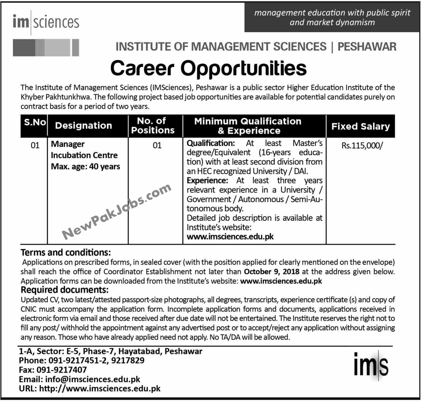 Latest Jobs in Intitue of Management Science Peshawar Sep 2018