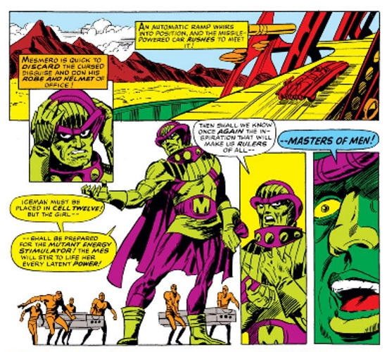 Five panels: one along the full length of the spread, one large one below it, two narrow panels to the right of that, and one small rectangle to bridge the two portions of the page. The panels feature Mesmero, a green-skinned man wearing purple tights and a purple headdress. The captions in the upper panel read, 'An automatic ramp whirs into position, and the missile-powered car RUSHES to meet it! Mesmero is quick to DISCARD the cursed disguise and don his ROBE AND HELMET of office!