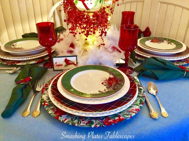 Smashing Plates Tablescapes Winter Cardinals