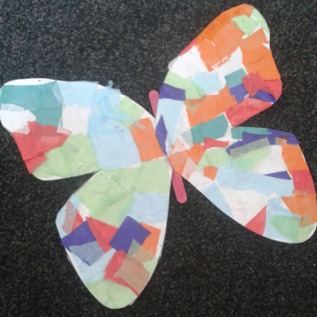 Tissue paper butterfly collage, kids craft