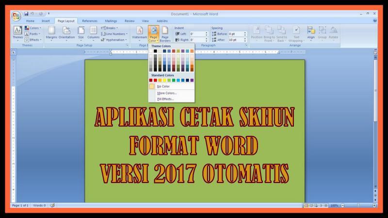 Aplikasi Cetak Skhun Versi 2018 Format Lengkap Otomatis