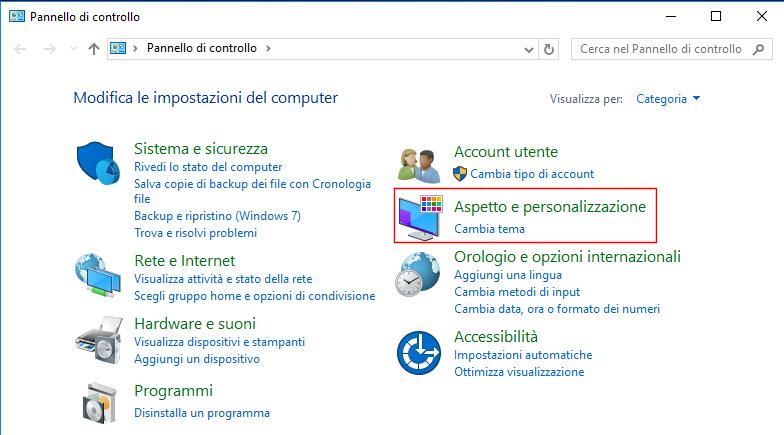 Windows 10, Pannello di controllo - Aspetto e personalizzazione
