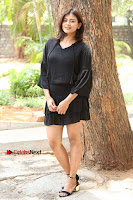 Actress Hebah Patel Stills in Black Mini Dress at Angel Movie Teaser Launch  0095.JPG
