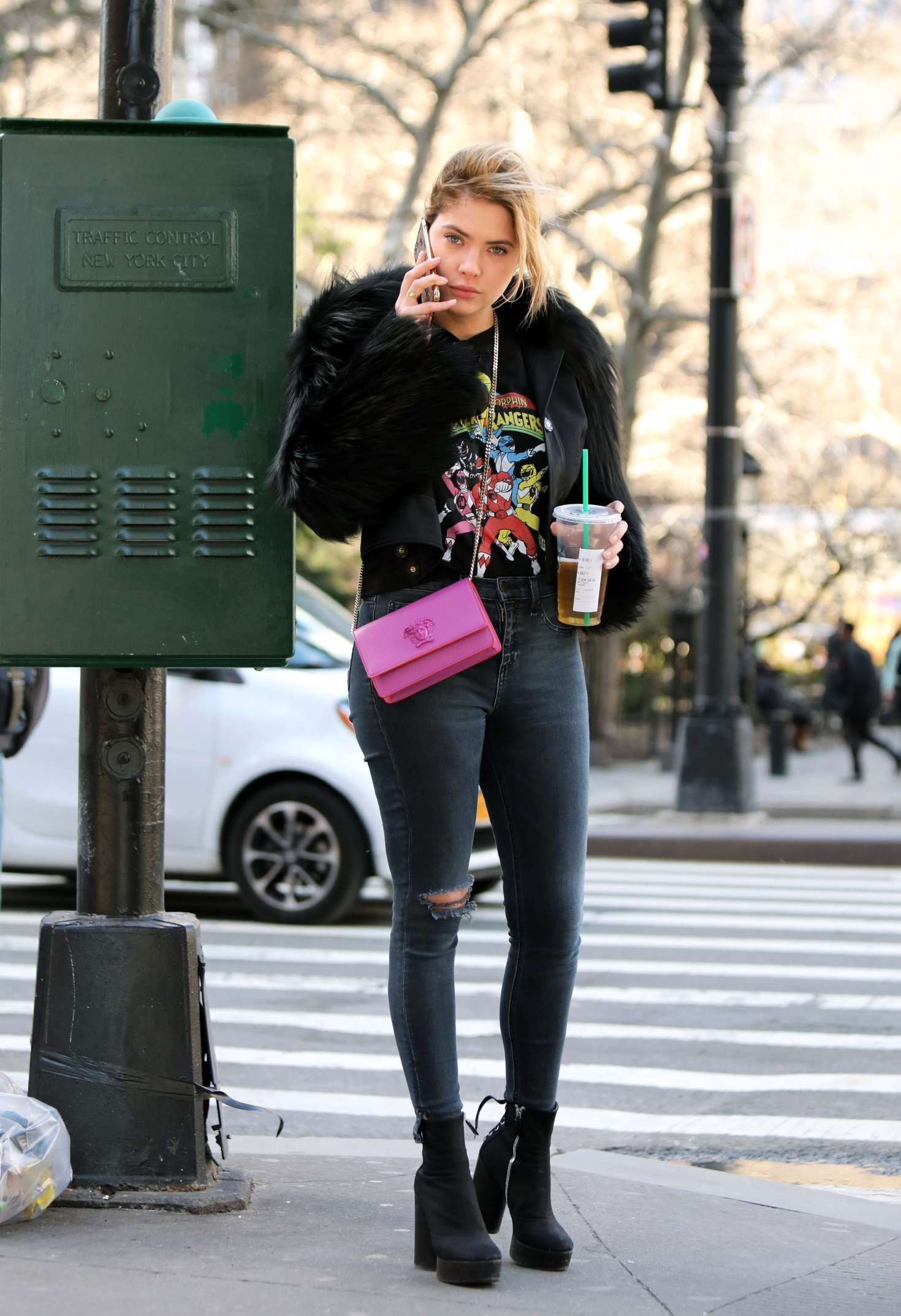 Ashley Benson went out in power Rangers T-shirt