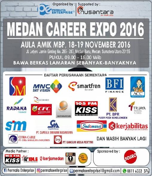 Lowongan medan, Lowongan career expo tahun 2016, Lowongan amik mbp medan