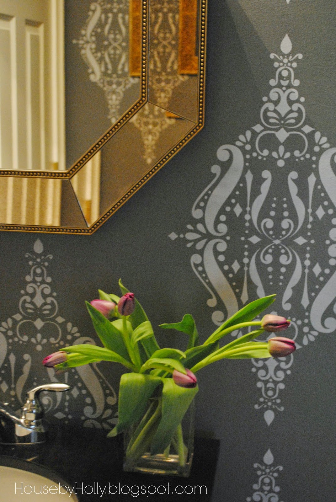 House by Holly: A Bold & Dramatic Powder Room | A Stencil