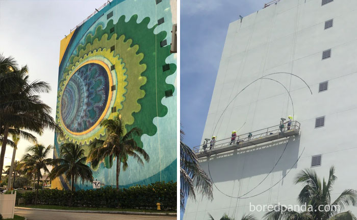 10+ Incredible Before & After Street Art Transformations That'll Make You Say Wow - Mural In Hollywood, Fl, Usa