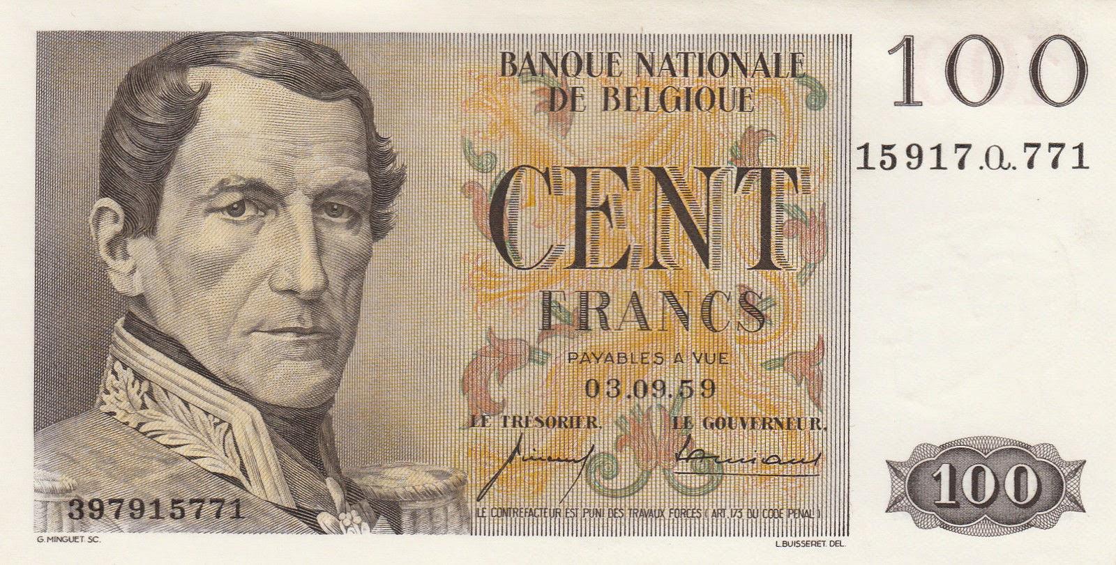 Belgium Banknotes 100 Francs banknote 1959 King Leopold I