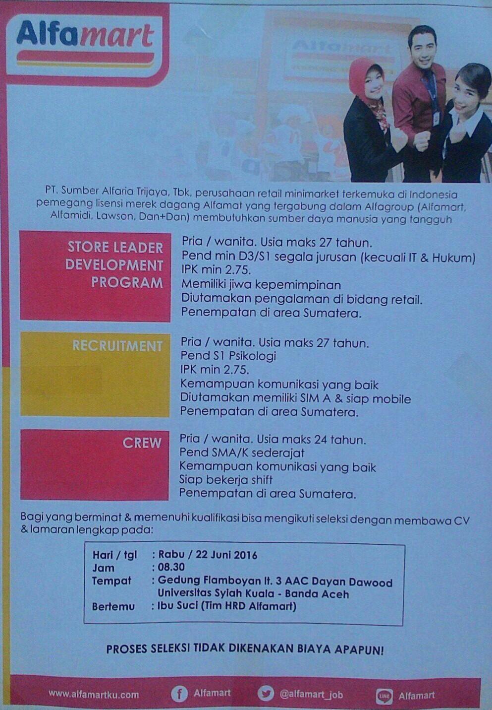 Rekrutmen Alfamart Juni 2016 - Banda Aceh