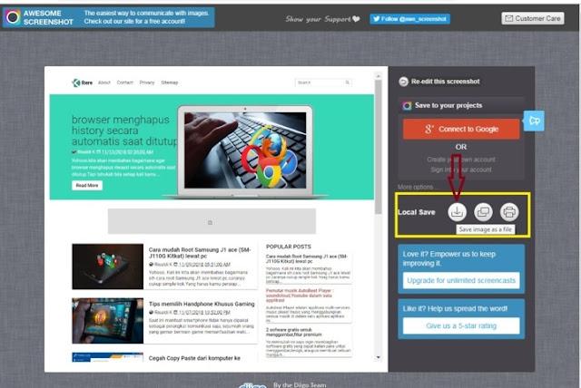 Screenshot Situs Secara Keseluruhan Di Pc/Laptop