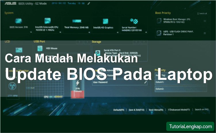 cara update bios laptop asus dengan flasdisk