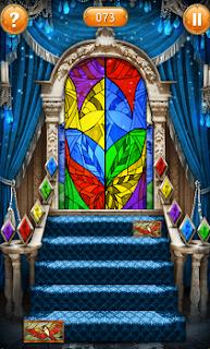 Начало открытия картинок на ступеньках, согласно цветовой гамме на мозаике