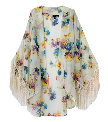 Floral bohemian hippie kimono fringe shawl - $15.58 Affordable Springtime Bohemian Fashion {Pastel Bohemian, Springtime Boho Fashion and Accessories, Bohemian Easter}