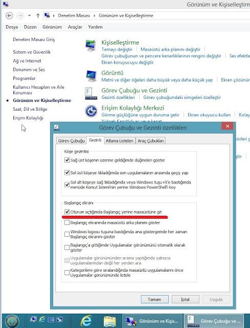 Windows 8.1'i masaüstünden başlatmak