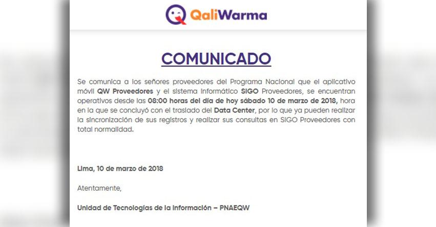 COMUNICADO QALI WARMA: Se encuentra operativo sistema informático SIGO y aplicativo móvil QW Proveedores - www.qaliwarma.gob.pe