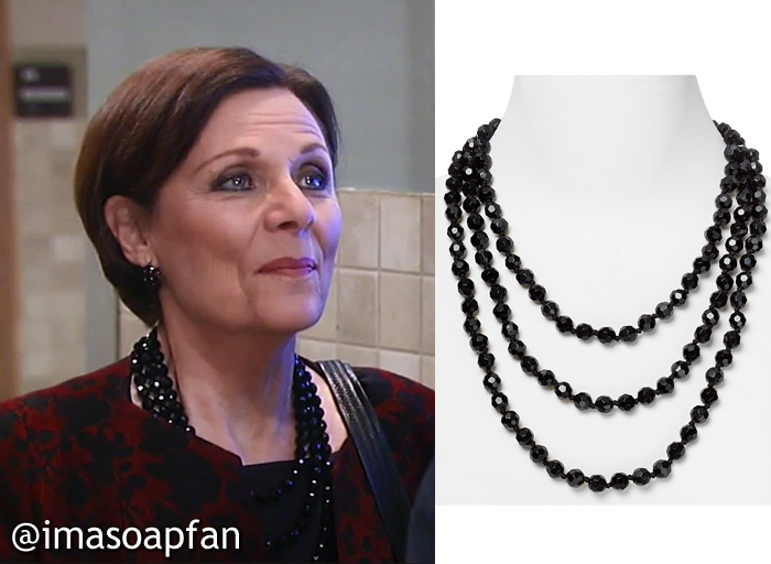 Tracy Quartermaine, Jane Elliot, Faceted Jet Black Beaded Necklace, Carolee, GH, General Hospital, Season 55, Episode 04/20/17