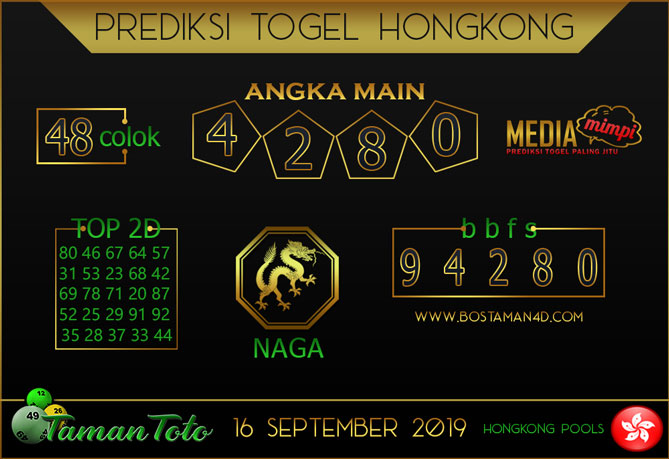Prediksi Togel HONGKONG TAMAN TOTO 16 SEPTEMBER 2019