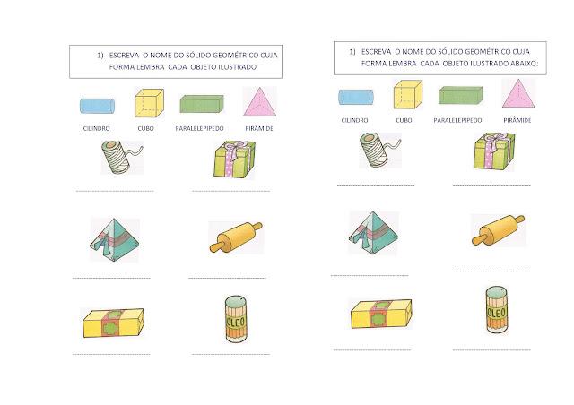 Atividades de Matemática sobre Espaço e Forma para 2º ano do ensino fundamental
