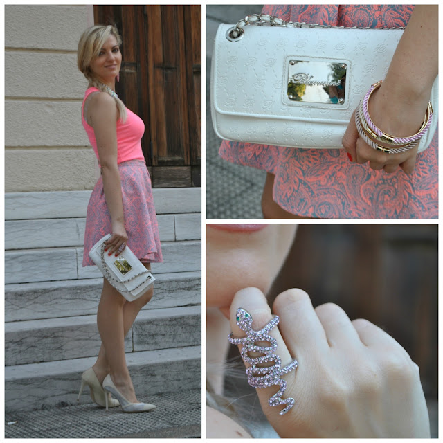 outfit rosa come abbinare il rosa pink outfit how to wear pink outfit gonna a ruota how to wear round skirt outfit outfit giugno 2016 outfit estivi june outfit mariafelicia magno fashion blogger colorblock by felym fashion blog italiani fashion blogger italiane blogger italiane di moda blonde girls blondie ragazze bionde
