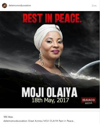 Celebrities pay tribute to late actress, Moji Olaiya