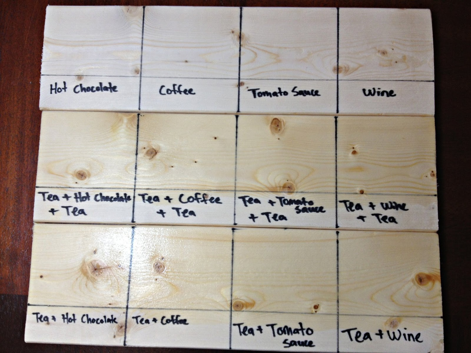 Top Row Has No Stain Bottom Two Rows Have The First Coat Of Tea
