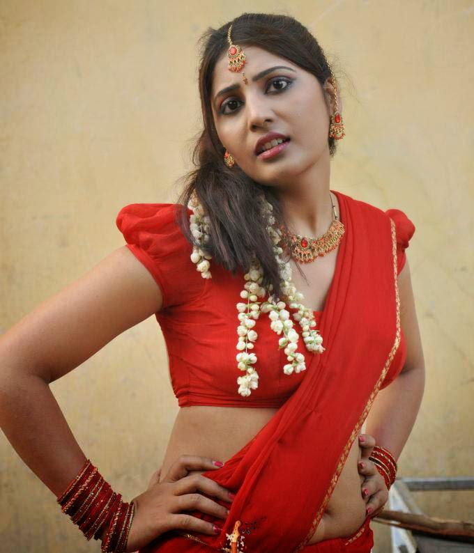 Sexy Reshmi Aunty Hot In Red Saree Pallu Drop Big Boobs